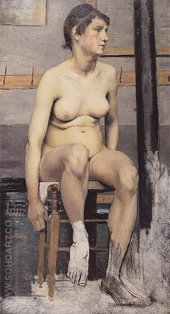 Nude Seated on a Stool 1884 - Felix Vallotton reproduction oil painting