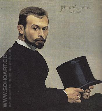Felix Jasinski Holding His Hat 1877 - Felix Vallotton reproduction oil painting