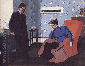 Interior Red Armchair and Figures 1899 - Felix Vallotton reproduction oil painting