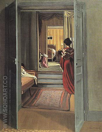 Interior with Woman in Red From Behind 1903 - Felix Vallotton reproduction oil painting