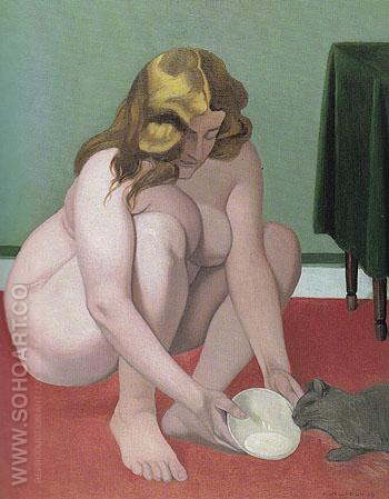 Crouching Woman Offering Milk to a Cat 1919 - Felix Vallotton reproduction oil painting