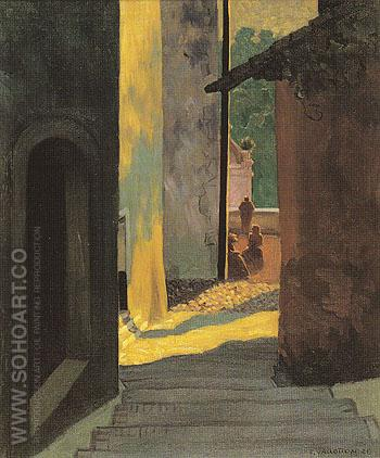 Old Street in Cagnes at Sunset 1920 - Felix Vallotton reproduction oil painting