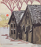 Landscape with Orange Sun 1916 - Charles Burchfield reproduction oil painting
