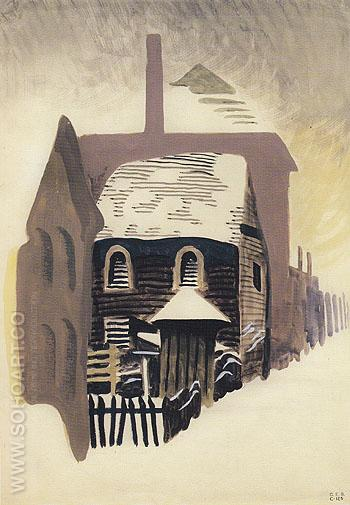 Clapboard House 1917 - Charles Burchfield reproduction oil painting