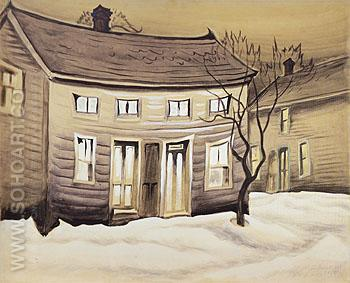 Cat Eyed House 1918 - Charles Burchfield reproduction oil painting