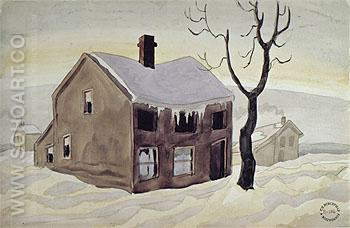 House and The Snow c1920 - Charles Burchfield reproduction oil painting