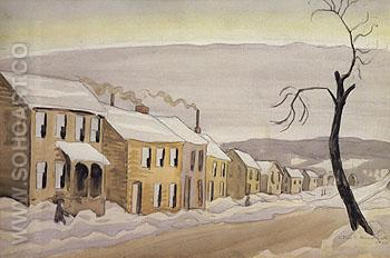 Houses 1920 - Charles Burchfield reproduction oil painting