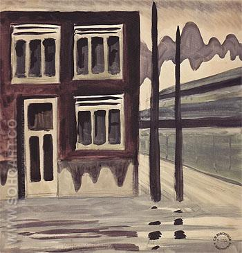 Corner House c1920 - Charles Burchfield reproduction oil painting