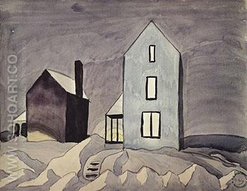 Two Houses c1920 - Charles Burchfield reproduction oil painting