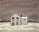 Its Snowing c1920 - Charles Burchfield reproduction oil painting