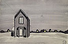 Gray House c1920 - Charles Burchfield reproduction oil painting