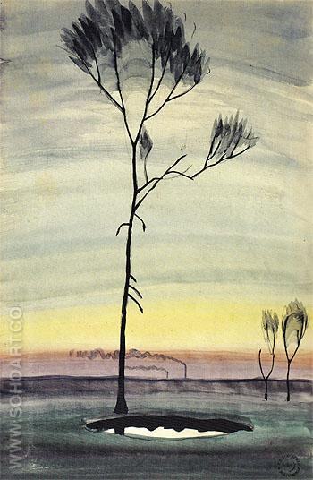 Tree and Pond c1920 - Charles Burchfield reproduction oil painting