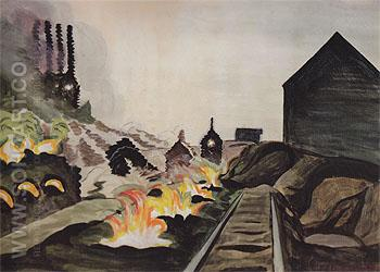 Coke Ovens at Night 1920 - Charles Burchfield reproduction oil painting