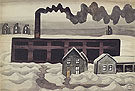 Factory and Houses 1920 - Charles Burchfield reproduction oil painting