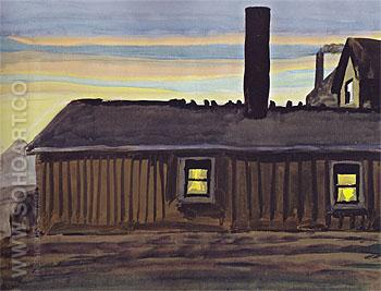 House in November Evening 1919 - Charles Burchfield reproduction oil painting