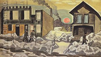 Red Sun 1920 - Charles Burchfield reproduction oil painting