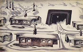 Houses in Snowy Winter Landscape c1920 - Charles Burchfield reproduction oil painting