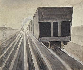 Passing Trains c1920 - Charles Burchfield reproduction oil painting