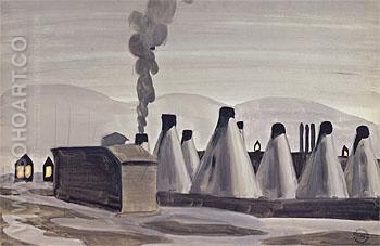 Industrial Kilns c1920 - Charles Burchfield reproduction oil painting