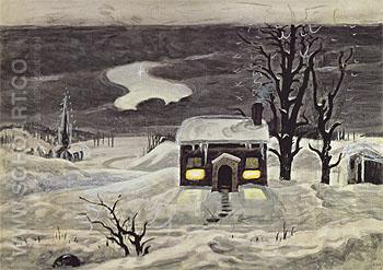 Cloud and Lonely Farmhouse c1920 - Charles Burchfield reproduction oil painting