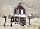 House in Snowfall c1920 - Charles Burchfield reproduction oil painting