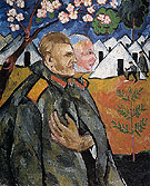 Portrait of Mikhail Larionov and His Platoon Commander 1911 - Natalia Gontcharova