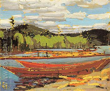 Bateaux c1916 - Tom Thomson reproduction oil painting
