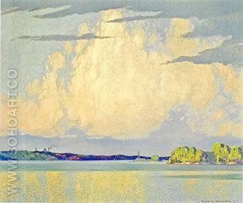 Serenity Lake of the Woods 1922 - Frank Johnston reproduction oil painting