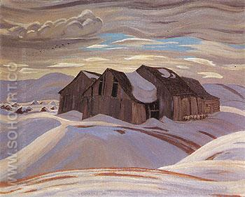 Barns c1926 - A.Y. Jackson reproduction oil painting