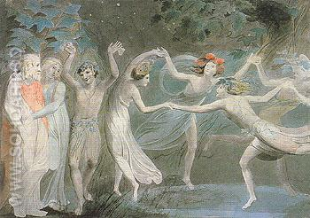 Oberon Titania and Puck with Fairies Dancing c1785 - William Blake reproduction oil painting
