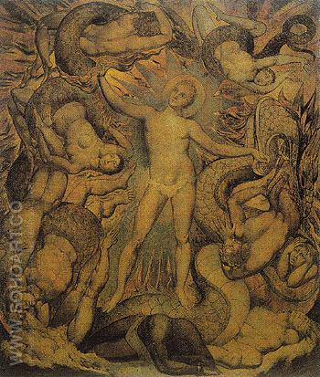 The Spiritual Form of Nelson Guiding Leviathan c1809 - William Blake reproduction oil painting