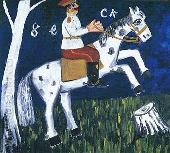 Soldier on a Horse c1911 - Mikhail Larionov reproduction oil painting