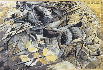 Lancers Charge c1914 - Umberto Boccioni reproduction oil painting