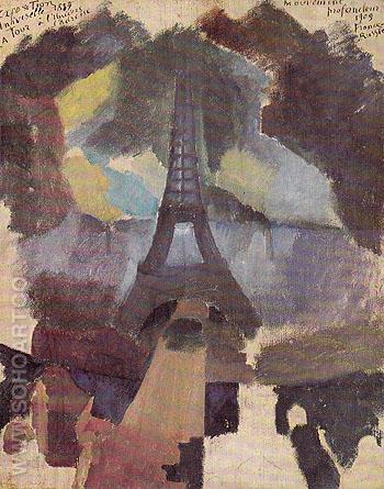 Tower First Study 1909 - Robert Delaunay reproduction oil painting