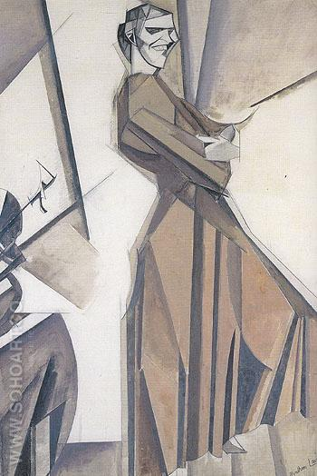 Smiling Woman Ascending a Stair c1911 - Percy Wyndham Lewis reproduction oil painting