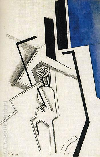 Composition in Blue 1915 - Percy Wyndham Lewis reproduction oil painting