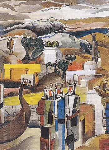 Landscape with Northmen c1936 - Percy Wyndham Lewis reproduction oil painting
