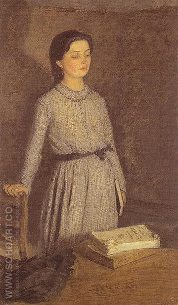 The Student c1903 - John Gwen reproduction oil painting