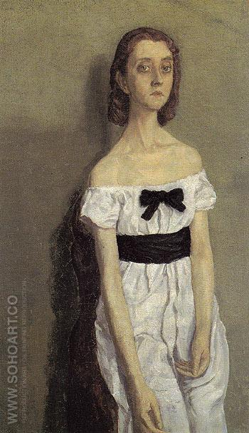 Girl with Bare Shoulders c1909 - John Gwen reproduction oil painting
