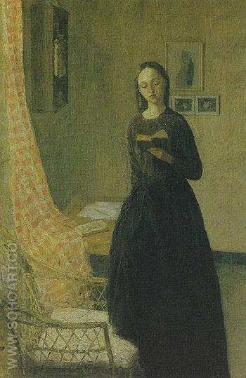 A Lady Reading c1910 - John Gwen reproduction oil painting