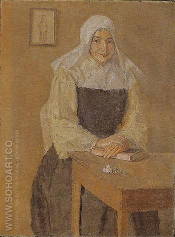 Mere Poussepin Seated at a Table c1915 - John Gwen reproduction oil painting