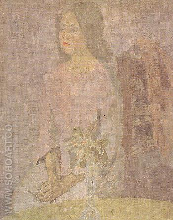 Girl in Rose 1910 - John Gwen reproduction oil painting