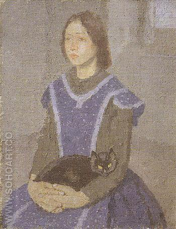 Girl with Cat c1918 - John Gwen reproduction oil painting