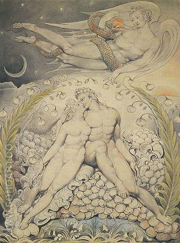 Satan Watching the Caresses of Adam and Eve 1808 - William Blake reproduction oil painting