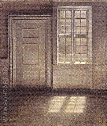 Study of a Sunlit Interior 1906 - Vilhelm Hammershoi reproduction oil painting