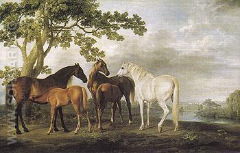 Mares and Foals in a River Landscape c1763 - George Stubbs reproduction oil painting