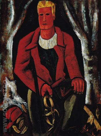Young Hunter Hearing Call to Arms 1939 - Marsden Hartley reproduction oil painting