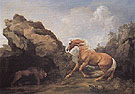 Horse Frightened by a Lion c1763 - George Stubbs