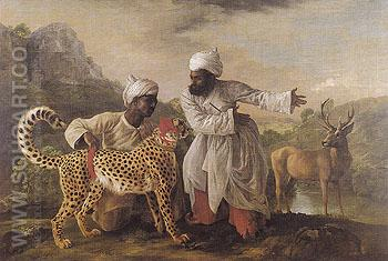 Cheetah and Stag with Two Indians 1765 - George Stubbs reproduction oil painting