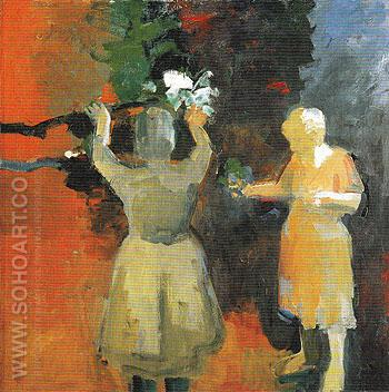 Two Women in Vermillion Light 1959 - Elmer Bischoff reproduction oil painting